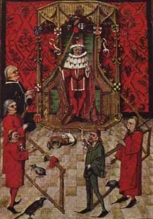 Ein Vasall schwört den Lehnseid vor Kurfürst Friedrich I. von der Pfalz