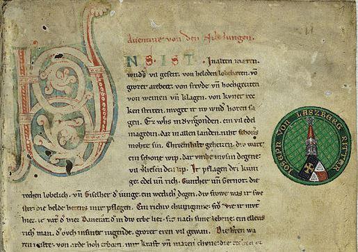 Der Anfang des Nibelungenliedes in Manuskript C, um 1220-1250