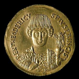Goldmünze (Solidus) mit dem Bildnis Theoderichs des Großen
