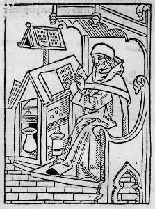 Schreiber in mittelalterlichem Skriptorium