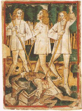Siegfrieds Ermordung. Nibelungenlied, Handschrift k (1480-1490)Siegfrieds Ermordung. Nibelungenlied, Handschrift k (1480-1490).