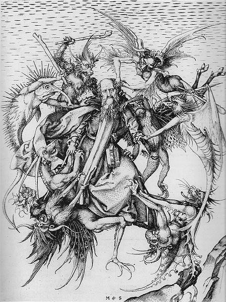 Martin Schongauer, Die Versuchung des hl. Antonius, 1470-75