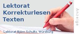 Anzeige: Lektorat Björn Schultz Würzburg